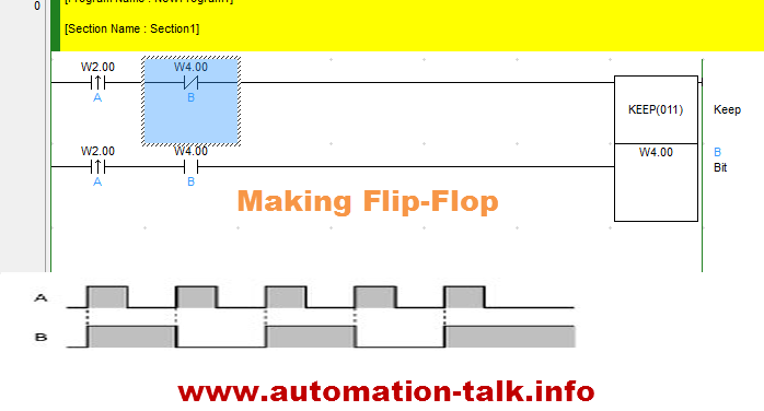 omron Flip Flop using KEEP ladder logic flip flop using omron keep instruction