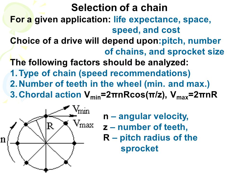 Chain Pitch Selection Chart for Roller Chains